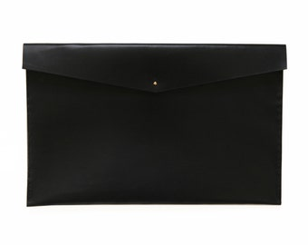 "MacBook Clutch / Tablet Holder / Document Holder / Leather / Hand-Stitched / 13"" / 17"" / Minimal / Modern"