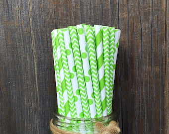 100 Lime Chevron, Dot and Striped Combo Straws, Birthday Party, Celebration, Free Shipping!