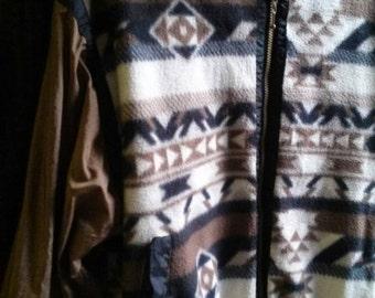 Vintage 90's 'Bolo Spirit' Windbreaker with Fleece Aztec Print Front