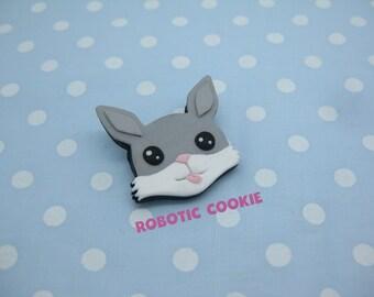 Rabbit Brooch Pin polymer clay