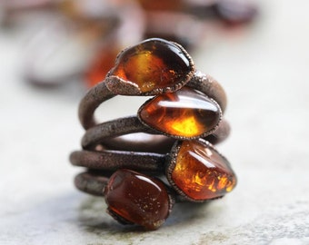 Citrine Ring Electroformed Stone Gemmy Citrine Copper Ring Reddish Brown Gemstone Delicate Ring