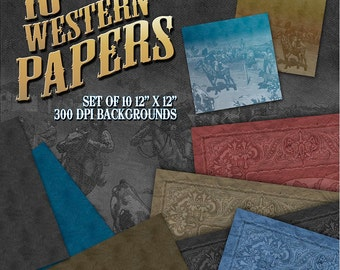 Western Printable Paper: Digital Papers, Western Scrapbook, Bandana Papers, Western Clip Art, Western Clipart, Cowboy  - Instant Download