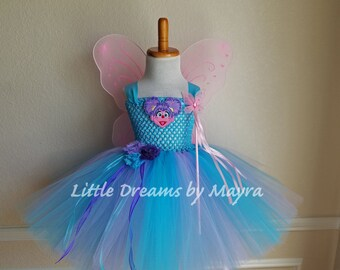 Abby Cadabby inspired tutu dress with wings, wand and hairlip, Abby Cadabby birthday party inspired outfit size nb to 12years