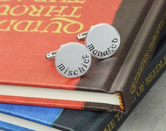 Mischief Managed Cuff Links - Hand Stamped Gift