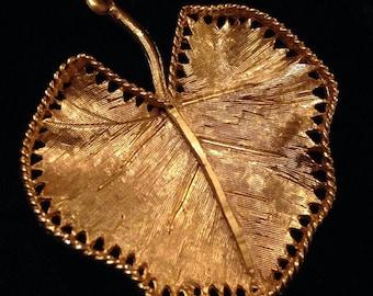 Signed BSK Gold Tone Leaf Brooch