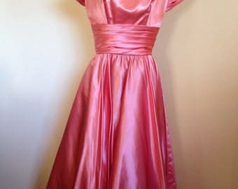1950s/1960s Pink Satin Party Dress