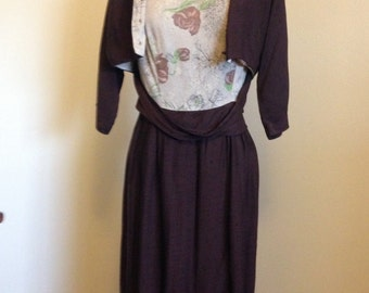 Brown and Floral 1960s Dress