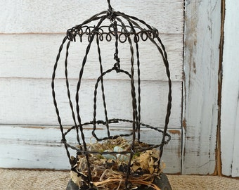 Wire Work Fil de Fer Birdcage with Hand Made Nest