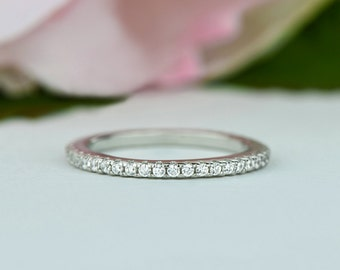 Delicate Full Eternity Band, Wedding Band, Stacking Ring, Promise Ring, 1.5mm Man Made Diamond Simulant, Anniversary Ring, Sterling Silver