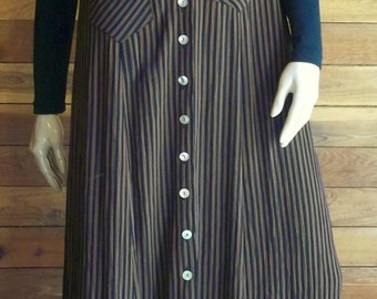 Vintage 90s S. ROBERTS Black Brown Striped Size Small Maxi Dress