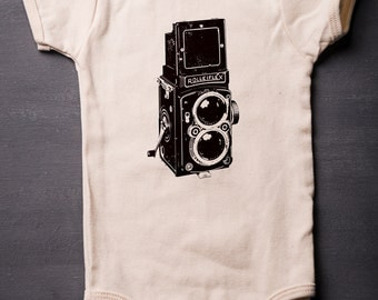 Baby Bodysuit - Vintage Camera - Baby Shower Gifts - Baby Clothes - American Apparel - Organic Cotton - Screen Printed