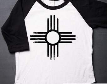 Southwestern Zia - New Mexico - Raglan - Toddler Shirt - American Apparel - Screen Printed - Baby T-shirt - Tribal - MicroThreads Apparel