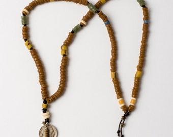 Trade Bead Necklace with Buffalo Nickel