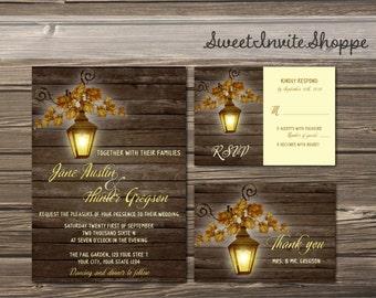 Lantern Rustic Fall Wedding Invitation Set, Rustic Barn Printable Wedding Invitation Suite, Lantern Country Wedding  Printable Invitation