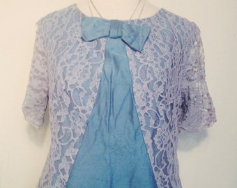 Vintage 1960's Lace blue dress