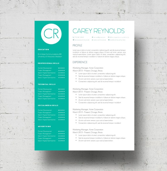 Resume Template Cover Letter Template The Sara By Phdpress: Custom Colors Resume Template & Cover Letter Template