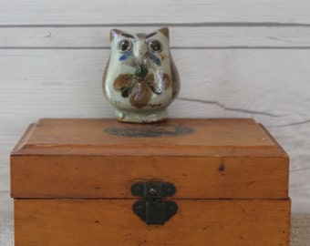Vintage Small Mexican Clay Pottery Owl, Vintage Mexican Folk Art Pottery Bird, Hand Painted Clay Owl, Vintage Pottery Bird