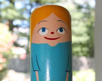 1960s Popsie Valentine Girl Doll/ Vintage Pride Creations/ Push Down Greeting Wood Popsie