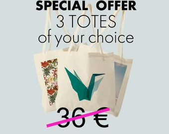 Tote Bag, special offer, set of three totes of your choice, gift woman.