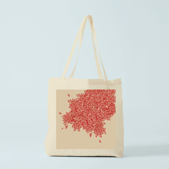 Tote bag Red Leaves, cotton bag, totebag, groceries bag, canvas bag, shopping bag, school bag, reusable fabric tote, novelty gift coworker.