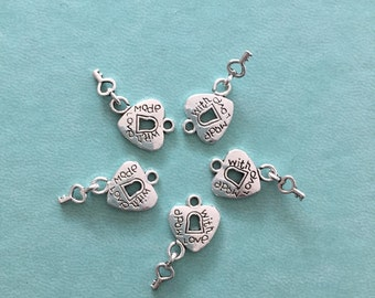 5 Made With Love Lock and Key Charms, Antique Silver, L3