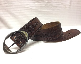 "Tooled Leather Belt, Brown leather,belt,34"",silver tone,Buckle"