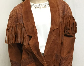 fringed jacket,brown fringed coat,suede,Avanti ,Brown, Leather Coat, Small