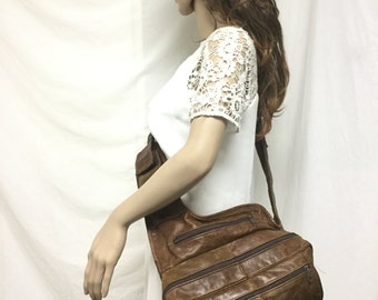 Free Ship Brown Leather Sling Shoulder Bag Mens Bag or Womens