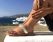 Ancient Greek Style Leather Sandals / Natural Straps / Golden Braided Strap / Women Shoes /High Quality Leather