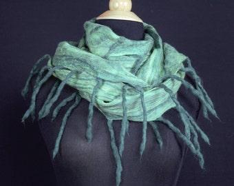 Merino Wool Silk Blend Cobweb Felted Scarf with wool fringe - Brasil Green (70/30 merino silk)