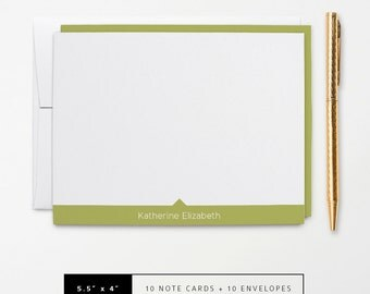 Flat or Folded Note Cards // Set of 10 // Green & White Modern Arrow with Name // Personalized Stationery // S114