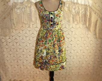 Cotton Floral Dress Sleeveless Summer Dress Small S Fit and Flare Colorful Yellow Green Orange Retro Sundress Size 6 Dress Womens Clothing