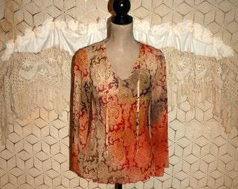 Hippie Boho Tunic Tops Bohemian Print Blouse Paisley Long Sleeve Shirt India Print Rayon Chiffon Blouse Medium Blouse Womens Clothing