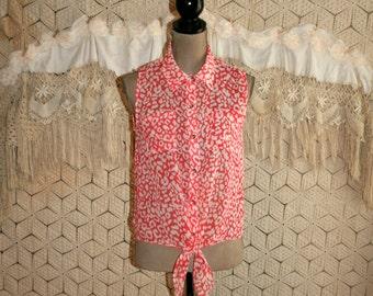 Summer Tops Women Sleeveless Sheer Chiffon Blouse Animal Print Tie Waist Button Up Orange White Small Medium Womens Clothing