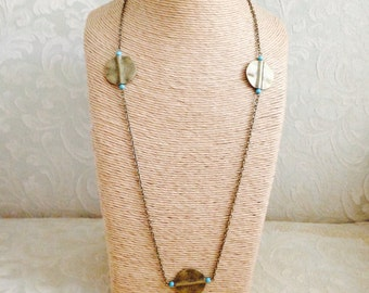Women's Brass and Turquoise Necklace