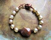 Jasper bracelet, creamy white pearl bracelet,  boho bracelet, copper bracelet, spring trends, southwestern bracelet, gifts for her