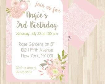Pink Lace Invitation, Pink Flower Invitation, Pink Birthday Party, Pink Invitations, Pink Birthday Party, Girls Birthday Invitation