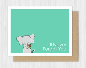 Cute Goodbye Card Elephant Farewell Leaving I'll Never Forget You I Miss Moving Going Away Thinking of Handmade Greeting For Friend Him Her