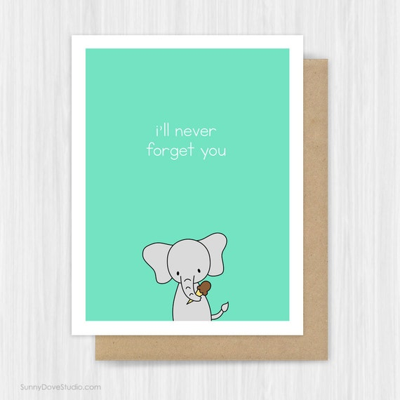 Cute Goodbye Card Elephant Farewell Leaving I'll Never