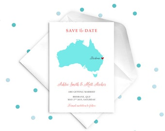 Wedding Save the Date Card Australia Map