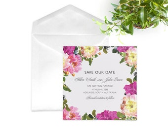 Pink and Green Peony Save the Date Card. Square Wedding Invitation. Real Flowers Invite.