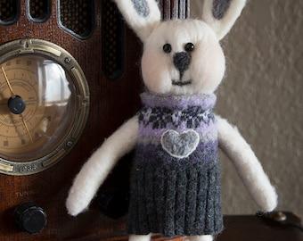 Needle felted stuffed animal bunny rabbit Fiber Art Sculpture