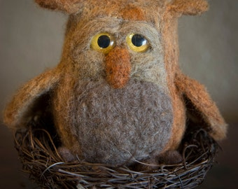Needle Felted Owl, Fiber Art Owl Toy