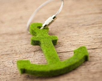 felt key chain anchor, grass green, steel rope with screw cap