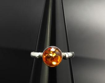 Amber Orange Sterling Silver Ring Size 6 Vintage