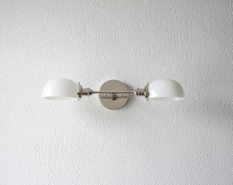 Wall Sconce Vanity Polished Nickel 2 Bulb With White Glass Shades Modern Mid Century Industrial Light Milk Glass UL Listed
