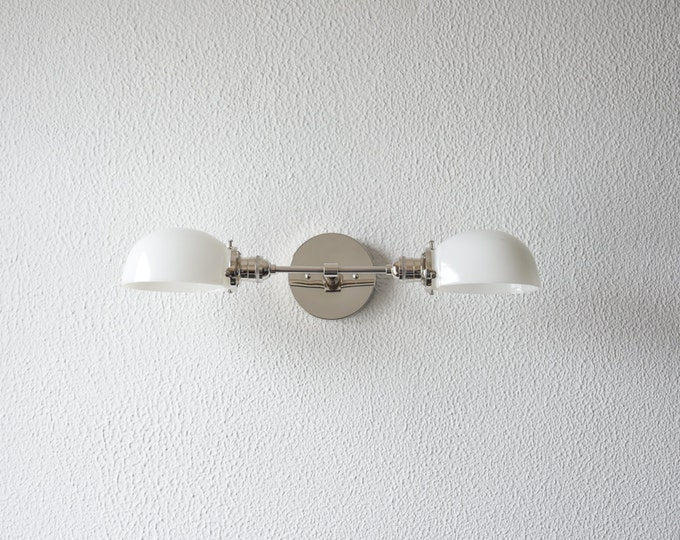 Free Shipping! Wall Sconce Vanity Polished Nickel 2 Bulb With White Glass Shades Modern Mid Century Industrial Light Milk Glass UL Listed