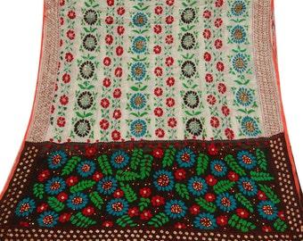 Vintage Dupatta Phulkari Embroidered Wrap Indian Long Stole Floral Art Craft Fabric Antique Deco White Vintage Clothing Hijab DP27293