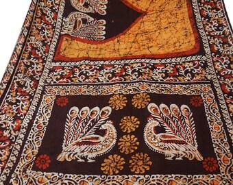 Vintage Pure Silk Fabric Yellow Sari Sarong Drape Batik Printed Fabric Dress Recycled Sari Women Wrap Indian Sari 5Yard PS41086
