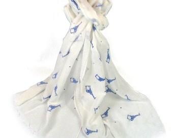 White Scarf with a Blue Giraffe Print, Giraffes Cotton Blend Scarf